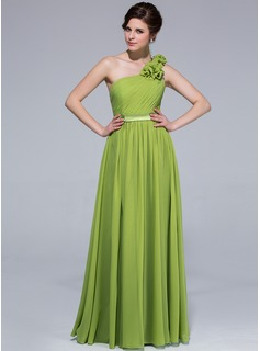 A-Line/Princess One-Shoulder Floor-Length Chiffon Bridesmaid Dress With Ruffle Flower(s) (007037242)
