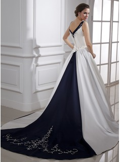 Ball-Gown V-neck Chapel Train Satin Wedding Dress With Embroidered Beading Sequins (002015473)