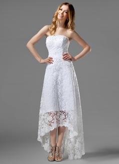 Трапеция Без лямок асимметричный Кружева Свадебные Платье с развальцовка (002000226)