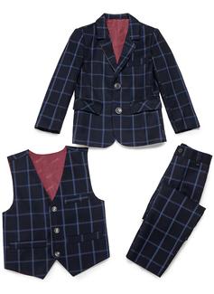 Boys 3 Pieces Plaid Ring Bearer Suits /Page Boy Suits With Jacket Vest Pants (287199772)