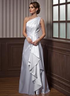 Vestidos princesa/ Formato A Um ombro Longos Charmeuse Vestido de festa com Babados em cascata (017021116)