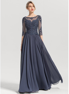 A-Line Scoop Neck Floor-Length Chiffon Prom Dresses With Beading Sequins (018192896)