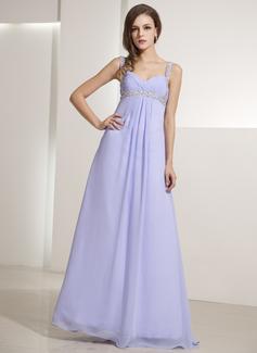 Трапеция/Принцесса V-образный Длина до пола шифон Платье для Отдыха с Рябь Бисер (020014196)