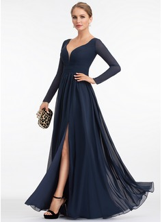 A-Line V-neck Floor-Length Chiffon Evening Dress With Split Front (017198658)