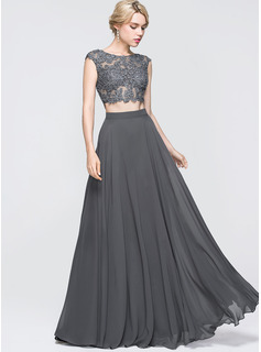 A-Line Scoop Neck Floor-Length Chiffon Prom Dresses With Beading Sequins (018089725)
