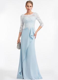 Sheath/Column Scoop Neck Floor-Length Stretch Crepe Evening Dress With Ruffle (017198644)