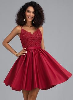 Трапеция V-образный Мини-платье Атлас Платье для Встречи Выпускников с развальцовка блестки (022203147)