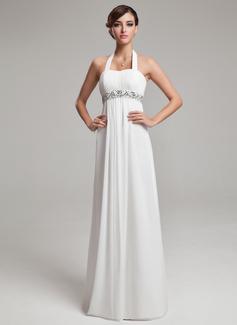 Empire Halter Floor-Length Chiffon Wedding Dress With Ruffle Beading Sequins (002012638)