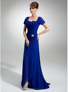 A-Line/Princess Sweetheart Sweep Train Chiffon Lace Mother of the Bride Dress With Crystal Brooch Split Front Cascading Ruffles (008005960)