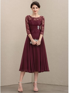 A-Line Scoop Neck Tea-Length Chiffon Lace Mother of the Bride Dress With Beading Sequins (008195399)