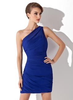 Sheath/Column One-Shoulder Short/Mini Chiffon Cocktail Dress With Ruffle (016008436)