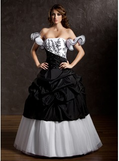 Ball-Gown Strapless Floor-Length Taffeta Tulle Quinceanera Dress With Ruffle Lace Beading (021002835)