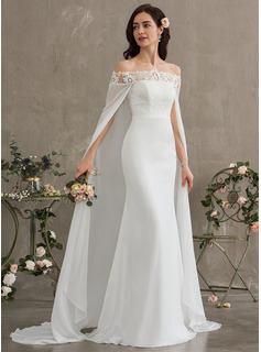 Sheath/Column Off-the-Shoulder Court Train Chiffon Wedding Dress (002187040)