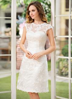 Corte A Decote redondo Coquetel Renda Vestido de noiva (002052768)