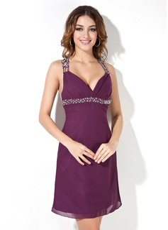 A-Line/Princess V-neck Short/Mini Chiffon Cocktail Dress With Beading Sequins (016008216)