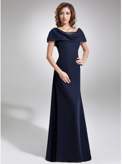 A-Line Cowl Neck Floor-Length Chiffon Mother of the Bride Dress With Ruffle Beading Sequins (008006061)