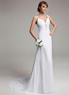 Платье-чехол V-образный Церемониальный шлейф шифон Свадебные Платье с Рябь развальцовка (002012150)