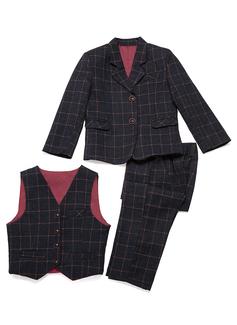 Boys 3 Pieces Plaid Ring Bearer Suits /Page Boy Suits With Jacket Vest Pants (287199751)