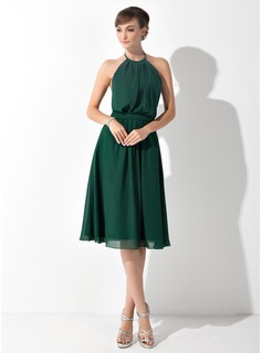 A-Line/Princess Halter Knee-Length Chiffon Bridesmaid Dress With Ruffle Bow(s) (007025846)