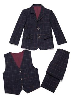 Boys 3 Pieces Plaid Ring Bearer Suits /Page Boy Suits With Jacket Vest Pants (287199767)