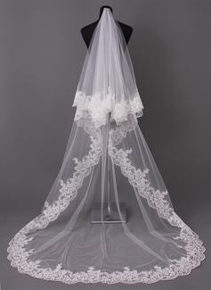 Uma camada Borda com aplicação de renda Catedral véus de noivas com Aplicação (006005417)
