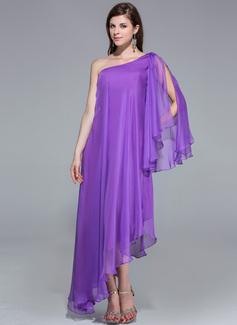 Corte A Um ombro Assimétrico Tecido de seda Vestido de festa (017026204)