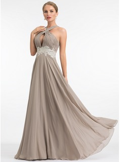 A-Line V-neck Floor-Length Chiffon Evening Dress With Lace (017198645)