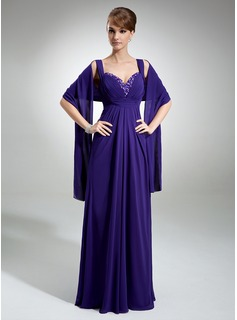 Empire Sweetheart Floor-Length Chiffon Mother of the Bride Dress With Ruffle Beading (008005660)