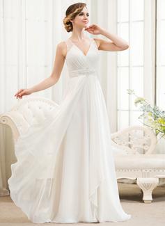 A-Line/Princess V-neck Sweep Train Chiffon Wedding Dress With Beading Sequins Cascading Ruffles (002054621)