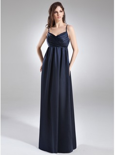 Empire V-neck Floor-Length Charmeuse Maternity Bridesmaid Dress With Ruffle (045004387)