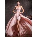 Corte A Amada Assimétrico Tecido de seda Vestido de baile (018020814)