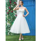A-Line/Princess Sweetheart Tea-Length Tulle Wedding Dress With Ruffle (002042289)