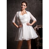 Half-Sleeve Chiffon Charmeuse Special Occasion Wrap (013012108)