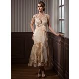 Trumpet/Mermaid V-neck Tea-Length Satin Lace Wedding Dress With Sash Beading Appliques Lace Flower(s) (002011719)