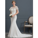 Trumpet/Mermaid Scoop Neck Court Train Chiffon Wedding Dress (002171928)