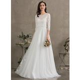 A-Line Sweetheart Floor-Length Tulle Wedding Dress (002187044)