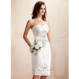 Sheath/Column Sweetheart Knee-Length Satin Wedding Dress With Beading Sequins (002012673)