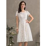 A-Line Scoop Neck Knee-Length Lace Wedding Dress (002186381)
