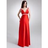 Empire V-neck Sweep Train Charmeuse Maternity Bridesmaid Dress With Ruffle Lace Beading (045022465)
