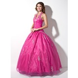 Ball-Gown Halter Floor-Length Organza Quinceanera Dress With Embroidered Ruffle Beading Sequins (021003137)