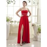 Empire Strapless Floor-Length Chiffon Holiday Dress With Ruffle Beading Split Front (008015437)