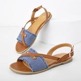 Women's Denim Flat Heel Sandals Flats Peep Toe With Buckle shoes (087205682)
