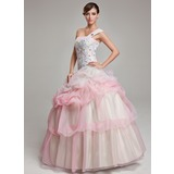 Ball-Gown One-Shoulder Floor-Length Organza Quinceanera Dress With Ruffle Beading Appliques Lace (021004716)