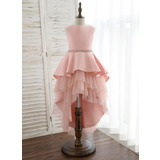 Ball-Gown/Princess Asymmetrical Flower Girl Dress - Satin/Tulle Sleeveless Scoop Neck With Rhinestone (010172353)