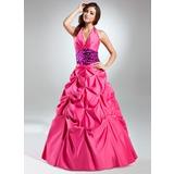 Ball-Gown Halter Floor-Length Taffeta Quinceanera Dress With Ruffle Sash (021015575)