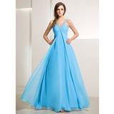 Empire V-neck Floor-Length Chiffon Holiday Dress With Ruffle Beading (020014211)