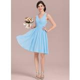 A-Line V-neck Knee-Length Chiffon Bridesmaid Dress With Ruffle (007126450)