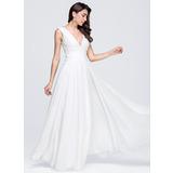A-Line V-neck Floor-Length Chiffon Wedding Dress With Ruffle (002118451)