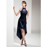 A-Line Halter Asymmetrical Charmeuse Cocktail Dress With Appliques Lace (016008531)