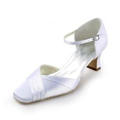 Women's Satin Spool Heel Closed Toe Pumps With Buckle (047011058)